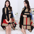 2016 New Brand Women's Winter Poncho Cape Coat Blanket Women's Lady Knit Shawl Cape Cashmere Scarf