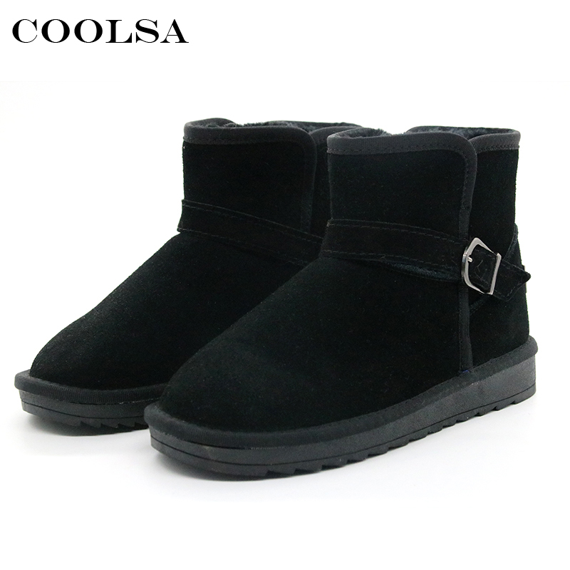 Coolsa New Women Genuine Leather Snow Boots Black Cow Suede Boots Wool Ankle Plush Booties Woman Winter Warm Shoes Mujer Bottes fedonas top quality winter ankle boots women platform high heels genuine leather shoes woman warm plush snow motorcycle boots