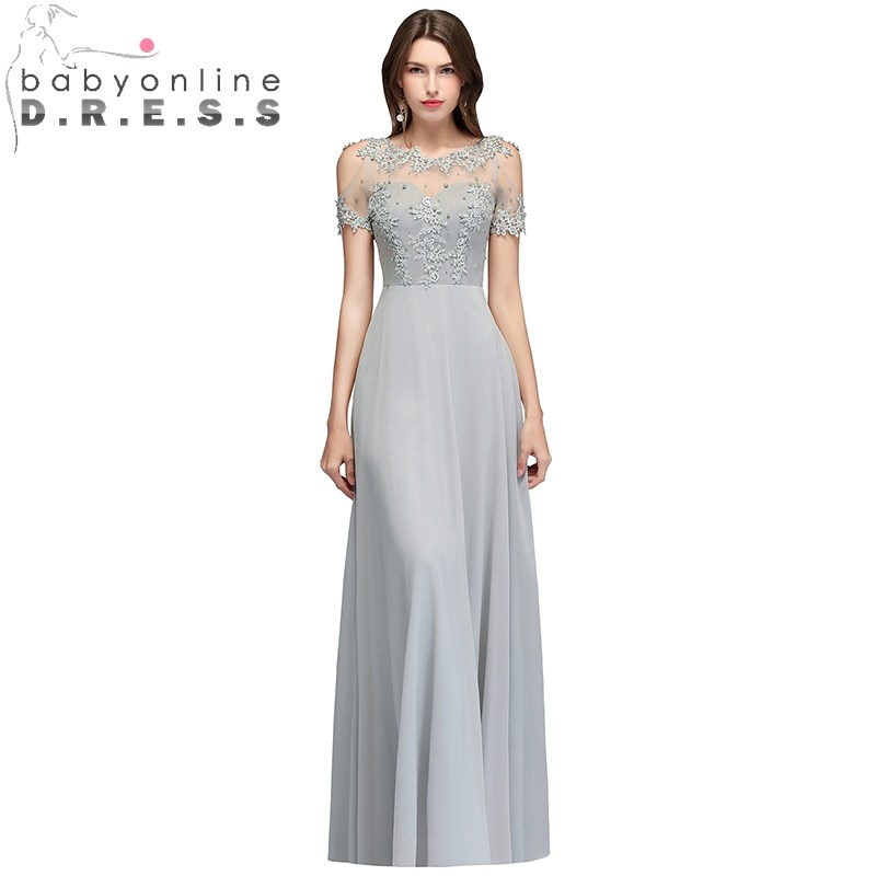 Vestido Longo Elegant Lace Pearls Evening Dress Sexy Transparent Back Tulle Short Sleeve Evening Gown Robe