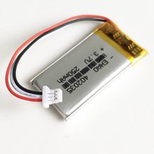 3 7V 250mAh 402035 litowo-polimerowa lipo akumulator z JST 1 0mm 3pin do ręcznego GPS Mp3 GPS bluetooth smart watch tanie tanio EHAO Akumulator litowo polimerowy 402035 042035 Baterie Tylko H=4mm W=20 L=35mm Pakiet 1 Rechargeable battery Thickness=4mm width=20mm Length=35mm