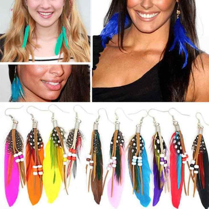 Estilo de verano pendientes colgantes de plumas mujeres/niñas pendientes de ganso de cuentas de moda accesorios de joyería para oreja-0110