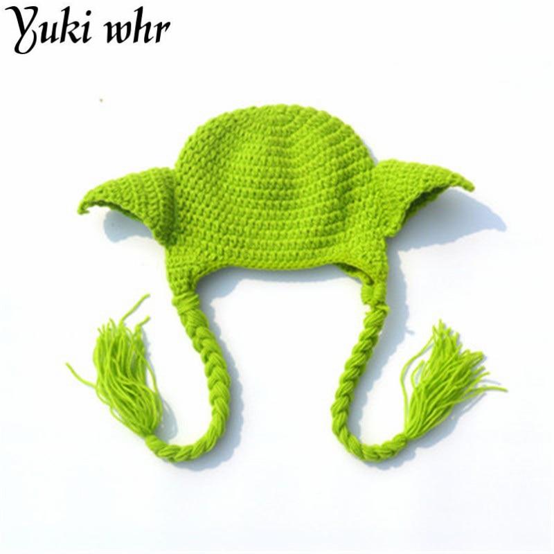 2018 Hot selling Star Wars Yoda Yoda Beanie Baby Crochet Hat Boys Winter Hat Knitted Kid Baby Photography Props Chapea