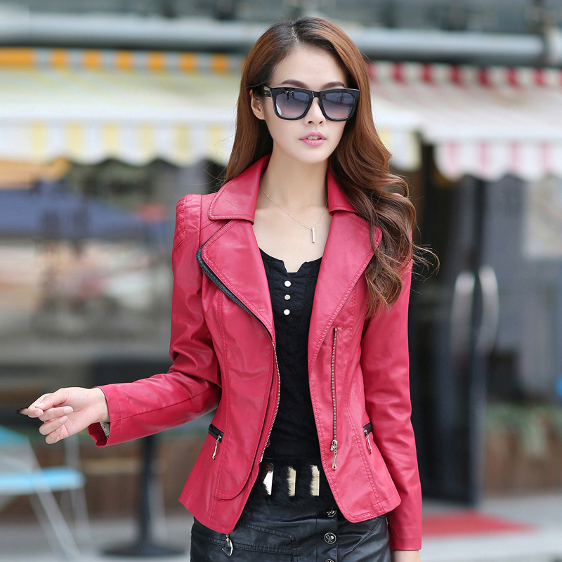Spring and Autumn 2018 color contrast women's plus size slim faux   leather   jacket women short design outerwear free shipping