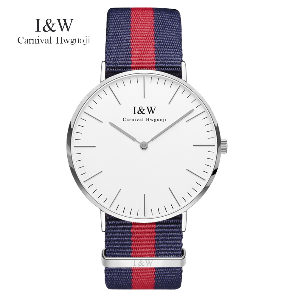 CARNIVAL Brand Men's watches simple dress quartz watch men Blue and red nylon strap quartz-watch Ultra-thin ultra clock relogio