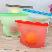 Silicone Food Storage Bags Reusable Fresh Bag Vacuum Sealer for Fruit Meat Milk completely sealed RT99(China)