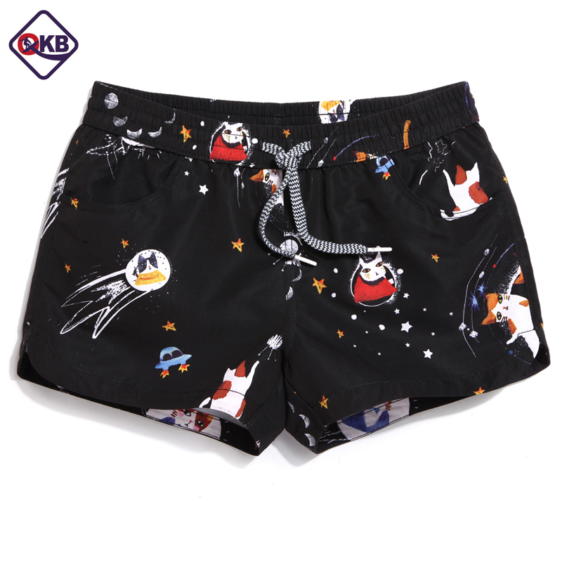 QIKERBONG Lady Casual Shorts Women Animal Cat Lovely  Shorts  Women  Shorts Quick Drying Fabric Light Touching