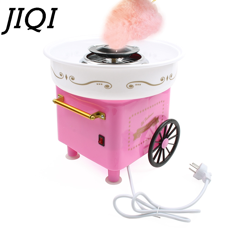 JIQI Electric DIY Sweet Cotton Candy Maker Mini Portable Fancy Sugar Floss Marshmallow Machine 450W Kids Gifts Party EU US Plug