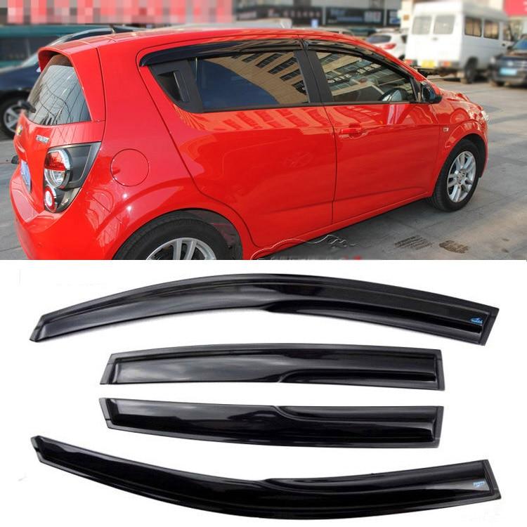 Jinke 4pcs Windows Vent Visors Rain Guard Dark Sun Shield Deflectors For Chevrolet Aveo 4pcs set smoke sun rain visor vent window deflector shield guard shade for hyundai tucson 2016