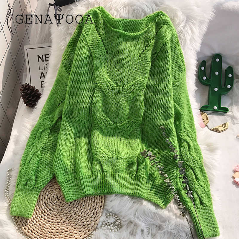 Genayooa Loose Autumn Knitting Sweater Pullovers Women Long Sleeve Ladies Sexy Jumpers Soft Hollow Out Sweater Woman Winter 2019