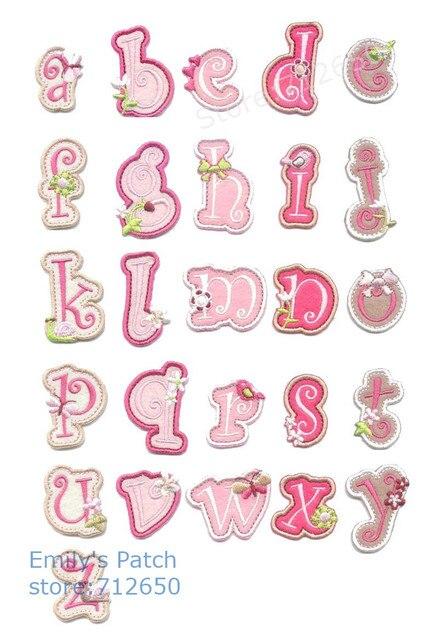 10 pcs rosa Alfabeto Bordado remendos ferro em Motif Applique chapéu de moda saco sapato crianças nome decor TS acessório bordado