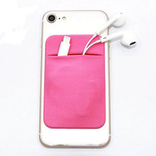 Elastic Lycra Adhesive Cell Phone Wallet Case Credit ID Card Holder Sticker Pocket(China)