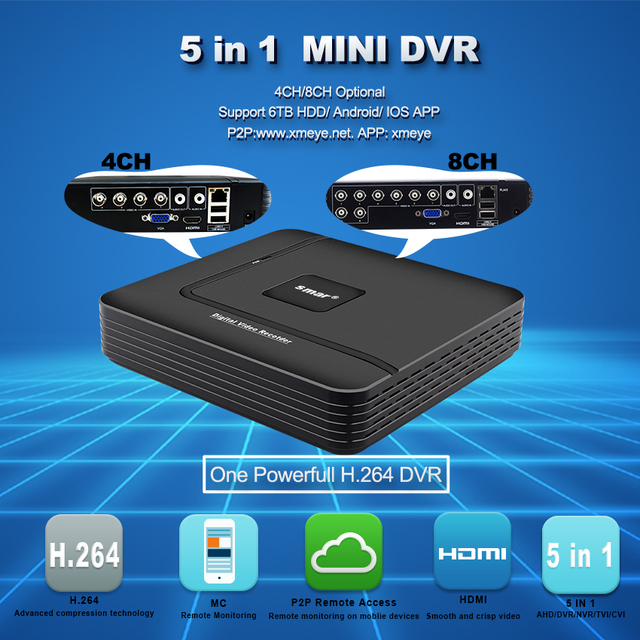 Smar CCTV DVR Hybrid 4CH 8CH AHDNH 1080N 5 IN 1 AHD CVI TVI CVBS 1080P Security DVR NVR For AHD Camera IP Camera Analog Camera 2
