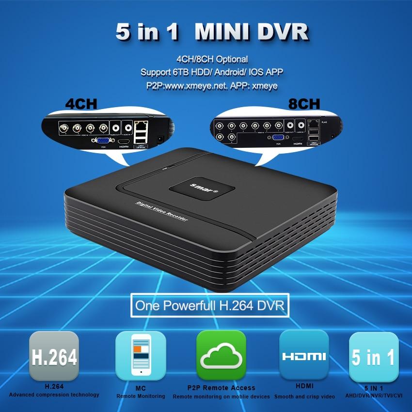 Smar Mini Hybride 4CH 8CH AHDNH 1080N AHD DVR 5 DANS 1 AHD CVI TVI CVBS 1080 p Sécurité DVR NVR Pour AHDM AHD Caméra 5MP IP Caméra - 2