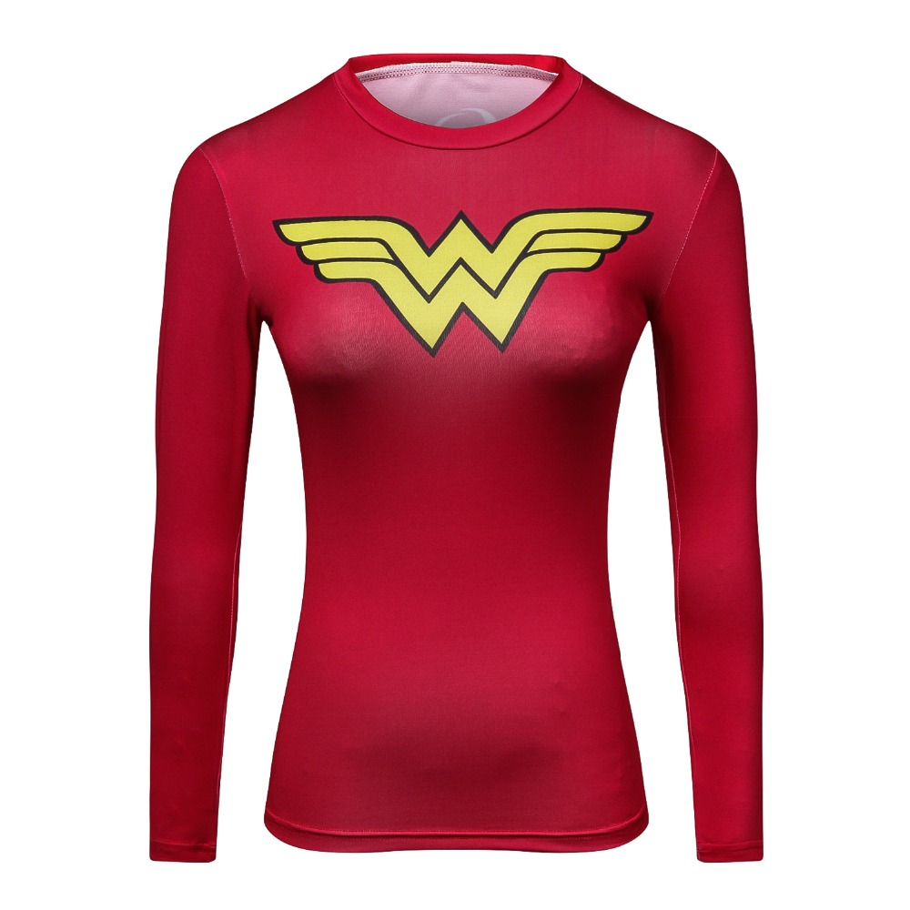 2018 Ladies Comics Marvel Superman Captain America Wonder Women's Compression Shirts Long sleeve TShirt Female Fitness Tights S image