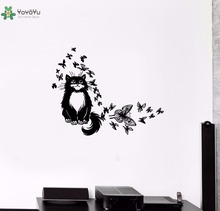 YOYOYU Vinyl Wall Decal Cute Cartoon Clever Cat Butterfly Animal Interior Kids Room Home Decoration Stickers FD406