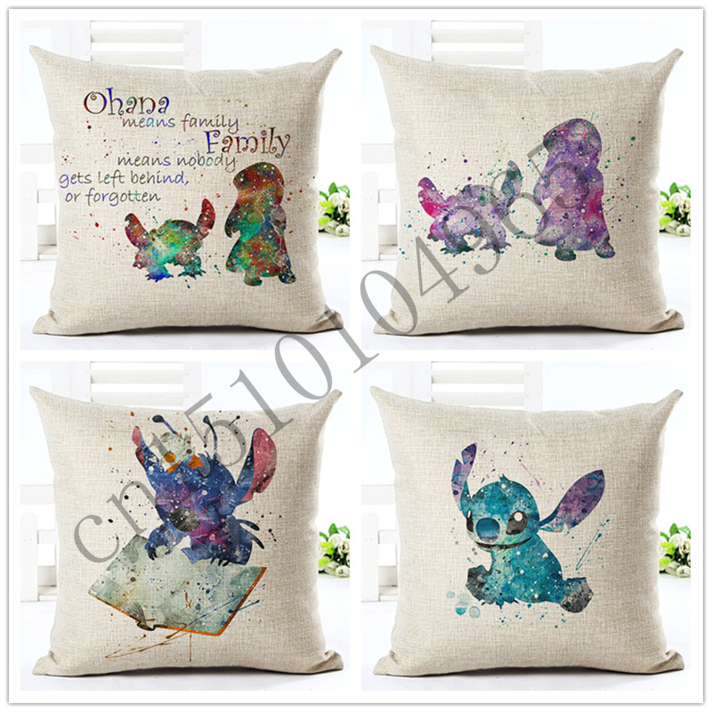 Painted Style Cartoon Cushion Sofa Throw Pillowcase Home Decor Cojines Cotton Linen Square Printed Almofadas
