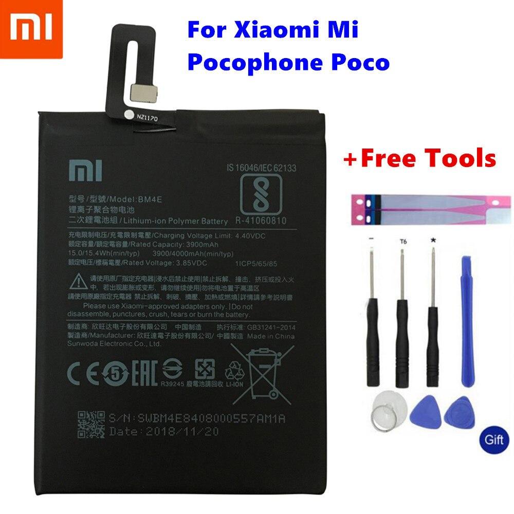 Bateria de Substituição Original BM4E Para Xiao mi mi Pocophone F1 Autêntica Bateria Do Telefone 4000mAh + Kits de Ferramentas