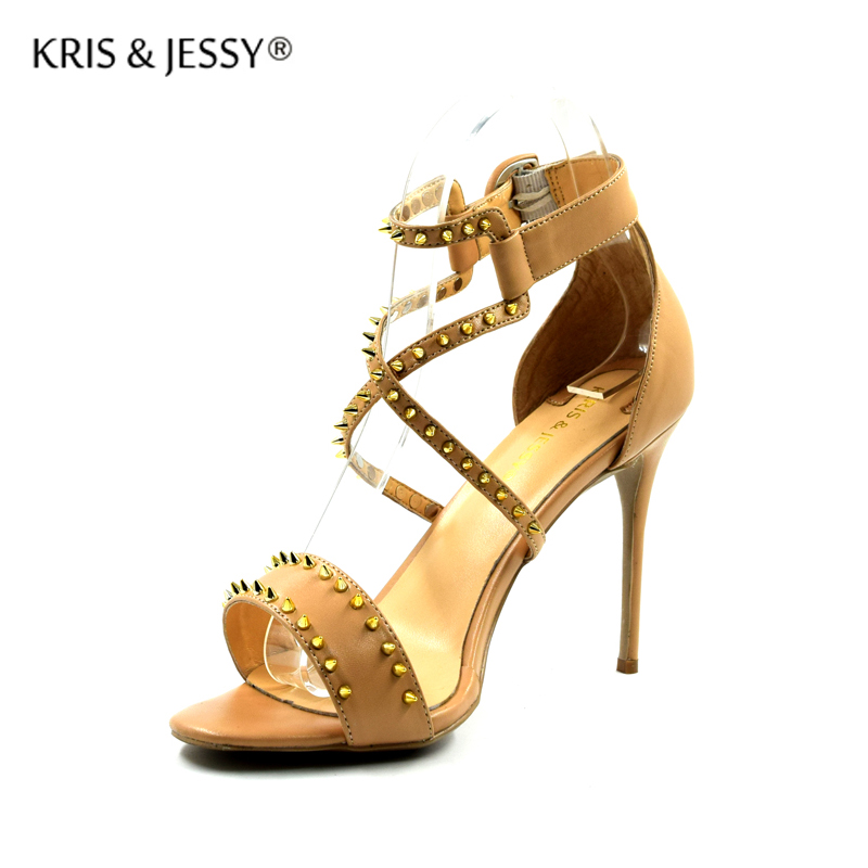 Plus Size 34 45 Studs X Cross Straps Women Sandals Sheepskin Insoles 8cm 10cm 12cm Covered