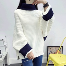 HanOrange College Autumn Winter Loose Turtleneck Bat Sleeve Women Thick Knitted Sweater Pullover White