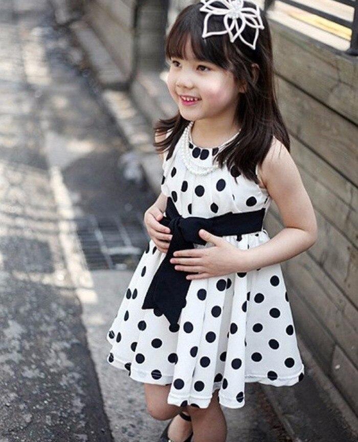 1PC Kids Children Girls Baby Chiffon Polka Dot Girl Chiffon Sundress Dress