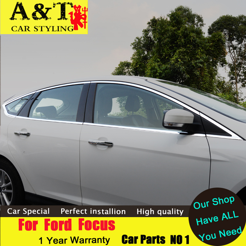 car styling For Ford Focus sedan Window stainless steel trim 2012 2015 For Ford Focus 3 windows sticker stainless steel full window trim decoration strips for ford focus 3 sedan 2012 2013 2014 car styling car covers 20