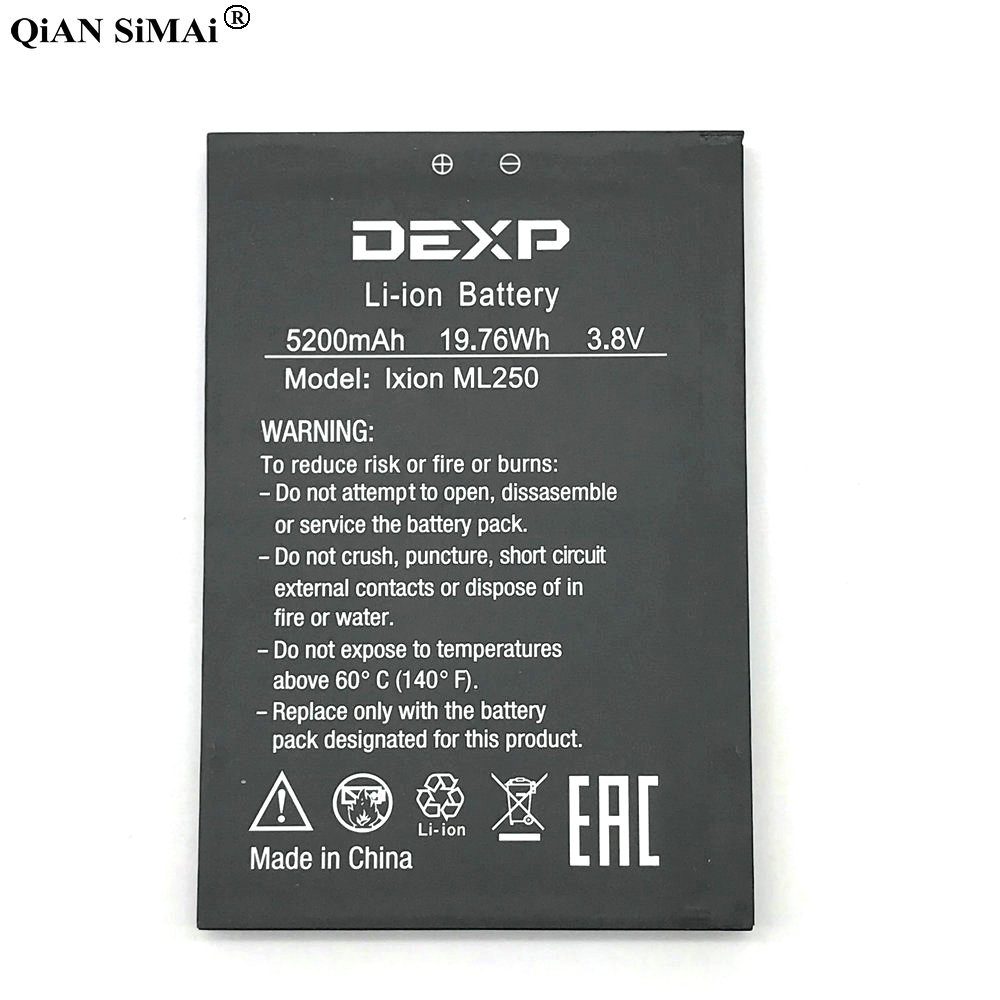New High Quality 5200mAh battery For DEXP IXION ML250 phone