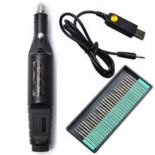 1 Set 30 Bits Electric Manicure Machine Rotary Bur Drill Bit Nails Tips File Gel Polish Mill Cutter New Step Up USB Apparatus