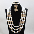 2017 Latest White African Beads Jewelry Set Gold Plated Dubai Costume Jewelry Set Wedding Coral Beads Real Free Shipping WD998
