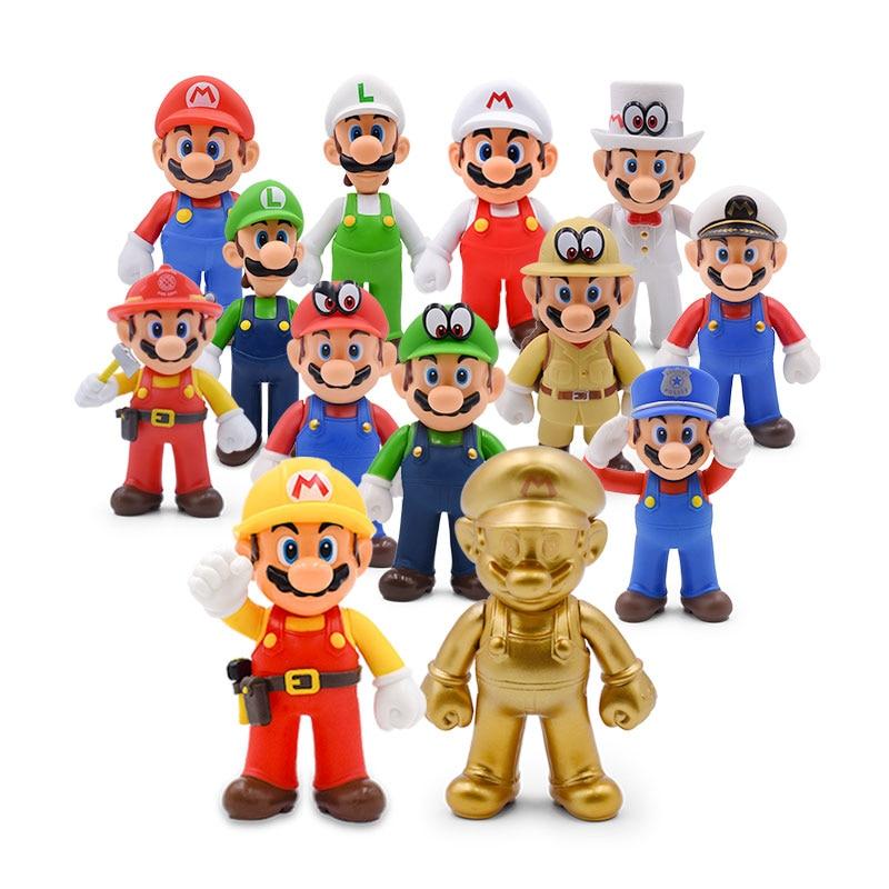 13cm Super Mario Bros Luigi Mario Yoshi Koopa Yoshi Mario Maker Odyssey Mushroom Toadette PVC Action Figures Toys Model Dolls fisher price soothe & glow seahorse