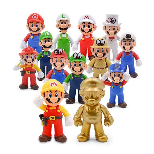 13 cinco centímetros Super Mario Bros Luigi Mario Yoshi Koopa Yoshi Mario Criador Odyssey Cogumelo Toadette PVC Figuras de Ação Brinquedos Modelo bonecas