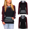 KLV cotton sweatshirt women brand Womens Long Sleeve Hoodie Sweatshirt Jumper Hooded Pullover