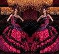 2016 New Arrival Frete Grátis vestido de Baile Vermelho E Preto Plissado Feito À Mão Flor Vestido de Debutante Vestidos Quinceanera por 15 Anos