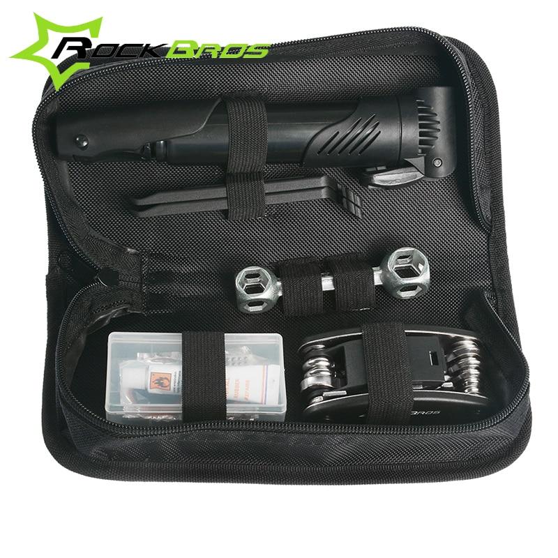 ROCKBROS Bike Tools Portable Cycling Bike Bicycle Tyre Repair Kit Tool Bag With Multi-function Tool bicicleta ferramentas Black