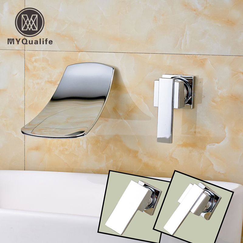 Polished Chrome Wall Mounted Single Handle Waterfall Basin Faucet Dual Hole Brass Bathroom Sink Mixer Taps free shipping high quality bathroom toilet paper holder wall mounted polished chrome