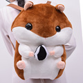 Hamster Brinquedos De Pelúcia Recheado de Pelúcia Ombros Mochila Bonecas Marrom/Branco Hamster de Pelúcia Boneca