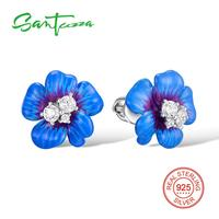 Silver Stud Earrings For Woman Blue Flower Cubic Zirconia Ladies Earrings 925 Sterling Silver Party Fashion