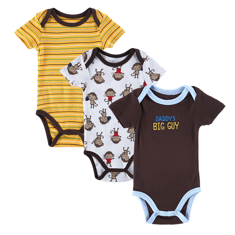 New Summer Newborn Baby Clothes 3PCS Cotton Baby Boys Girls Clothes Short Sleeve Baby Romper Infant Jumpsuit Baby Boy Clothing