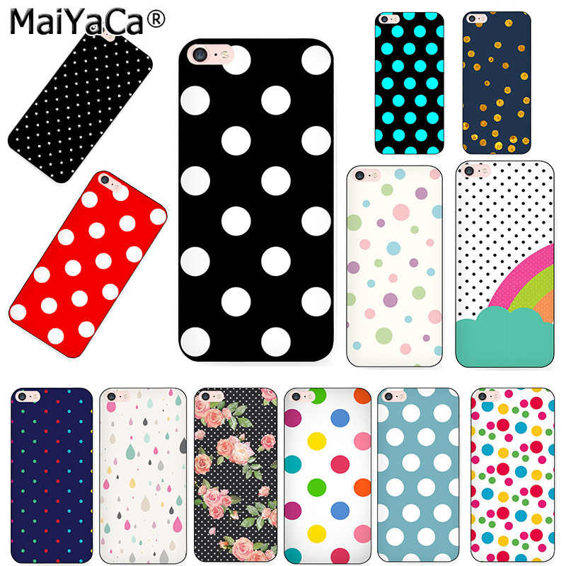 MaiYaCa Polka Dots Black Soft TPU silicone Phone Case Accessories Cover Fundas For iPhone 5s 6s 7 plus 8 8plus X XR XS MAXcase