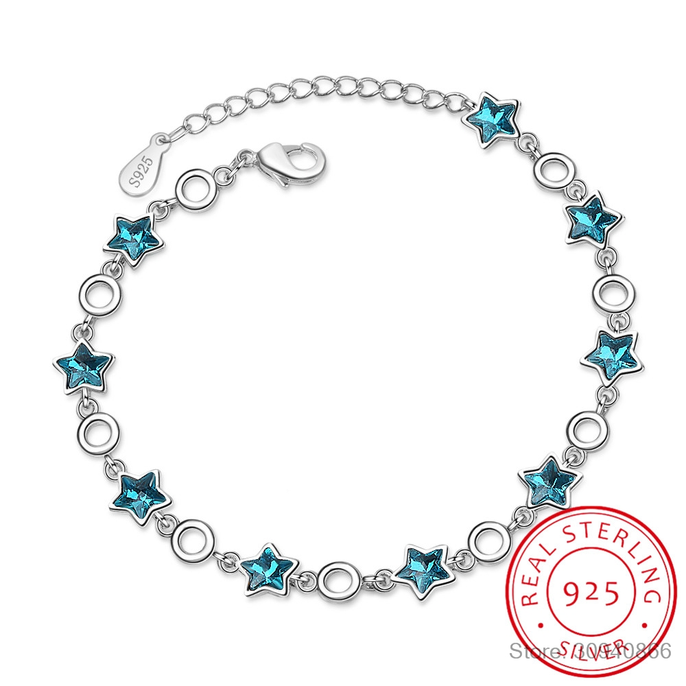 100% 925 Sterling Silver Blue Crystal Star Charm Bracelets For Women High Quality Lady Fashion Party Jewelry