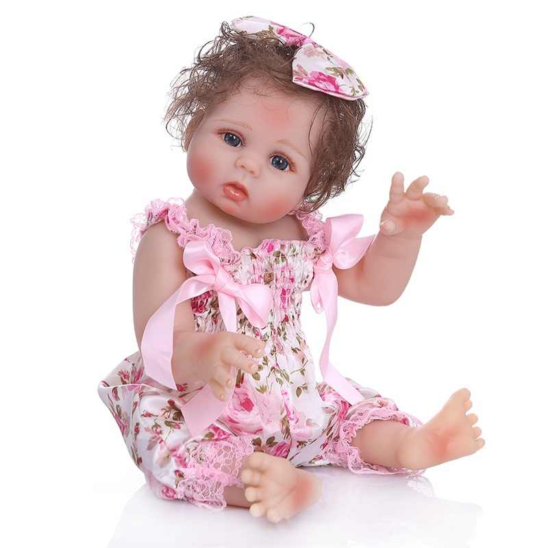 48 см мягкий полностью силиконовый корпус reborn baby girl куклы и платье Прекрасная Детская модель кукла реквизит для фотосессии Рождественский подарок на день рождения