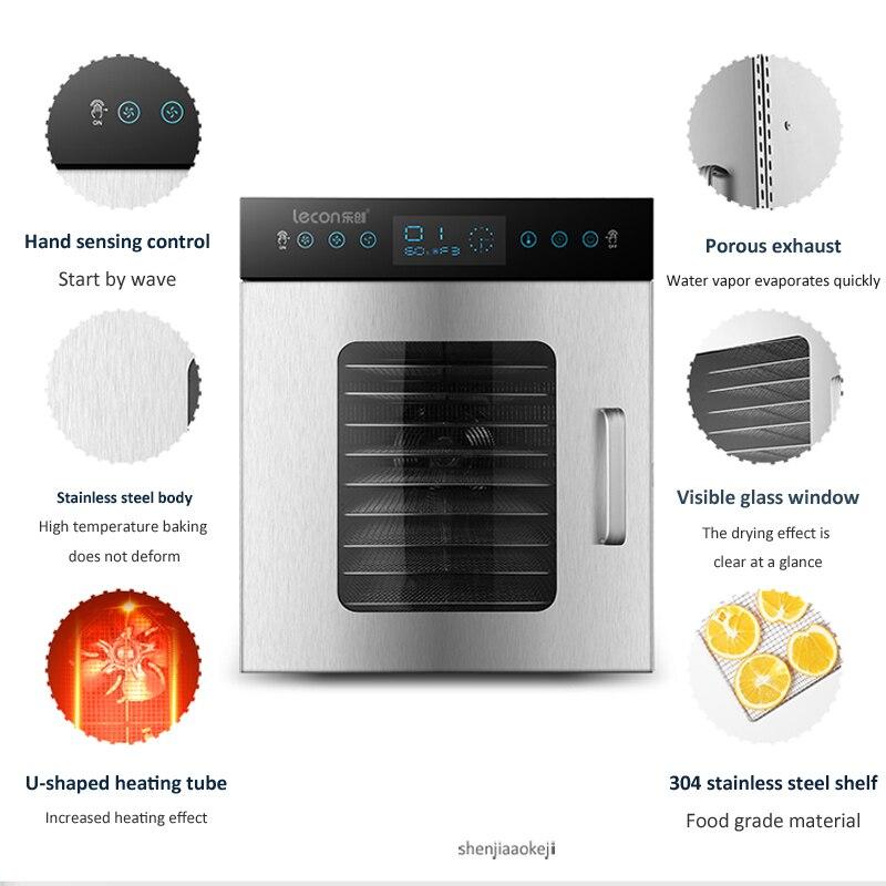 Déshydrateur alimentaire 12 couches Commercial/maison double usage séchoir alimentaire acier inoxydable fruits légumes machine de séchage 220 V/50 HZ 1000W 1PC