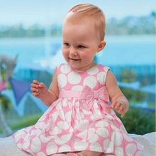2018 New Baby Dresses Pink Sleeveless Dots Baby