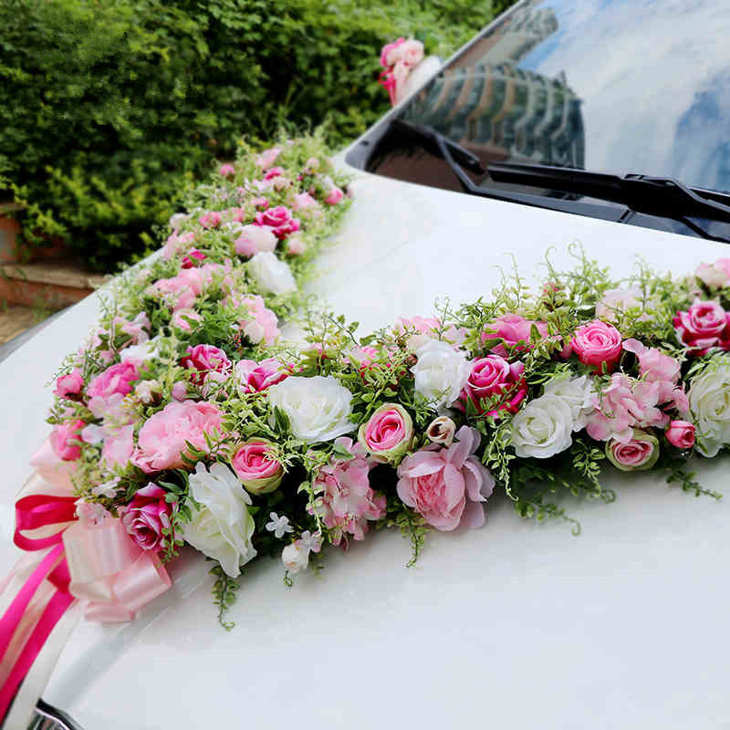 Beautiful Large V alphabet Artificial Rose Peony flower Wedding car decoration set wedding supplies