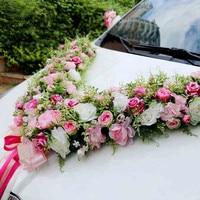 Mooie Grote V alfabet Kunstmatige Rose pioenbloem Wedding auto decoratie set bruiloft benodigdheden