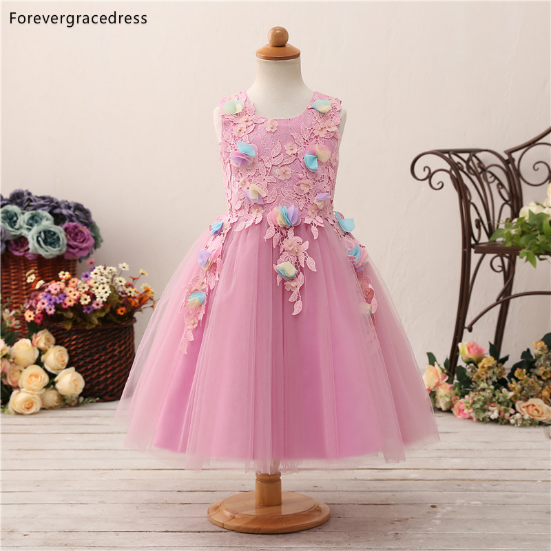 Forevergracedress Lovely Pink   Flower     Girls     Dresses   2019 New Ball Gown Lace Sleeveless Bow Back Kids Pageant Children Gowns