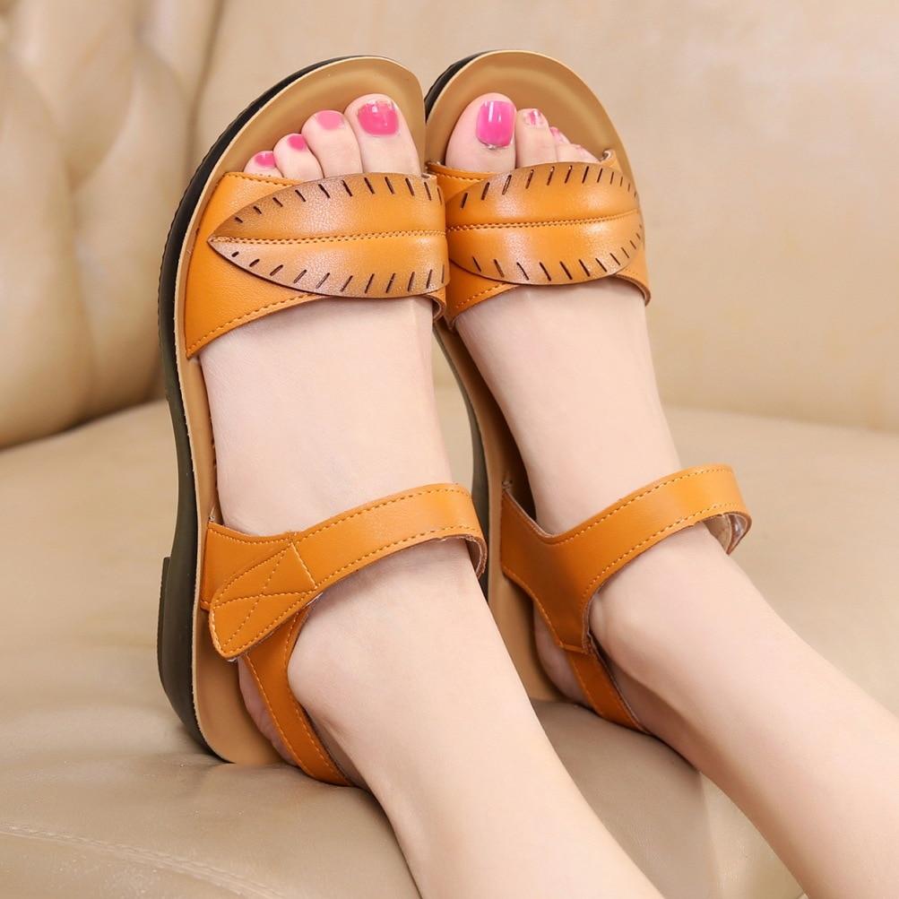 2018 new women sandals genuine leather mother's sandals flat female sandals soft bottom antiskid women sandals plus size 35-41 1