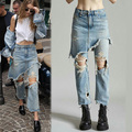 Fashion Ladies Cropped Flare Distressed Jeans Women Vintage Fringe Edges Tassels Ripped Jeans Femme Denim Pants with Hole