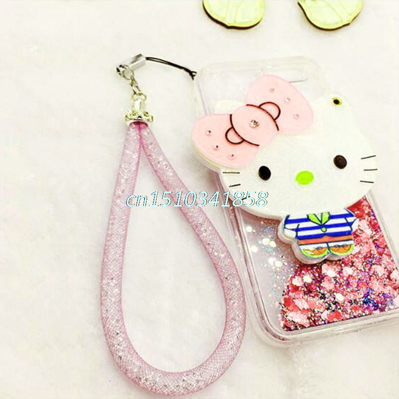High Quality Rhinestone Lanyard Short Lanyard ID Badge Cell Phone and Key Holder Phone Antitheft Key Holder