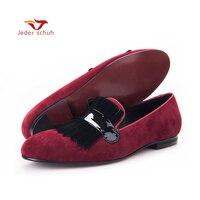 Для мужчин Лоферы Для мужчин классические большой бахромой свадебные туфли обувь для торжеств красный и черный цвет сделает вас очарование