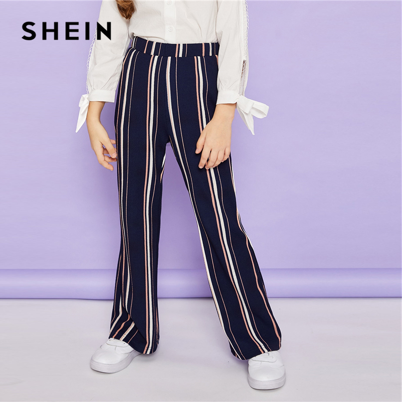 SHEIN Kiddie Blue Striped Elastic Waist Wide Leg Elegant Girls Pants 2019 Spring Fashion Casual Trousers Pants Girl Kids Clothes solid self belted wide leg pants